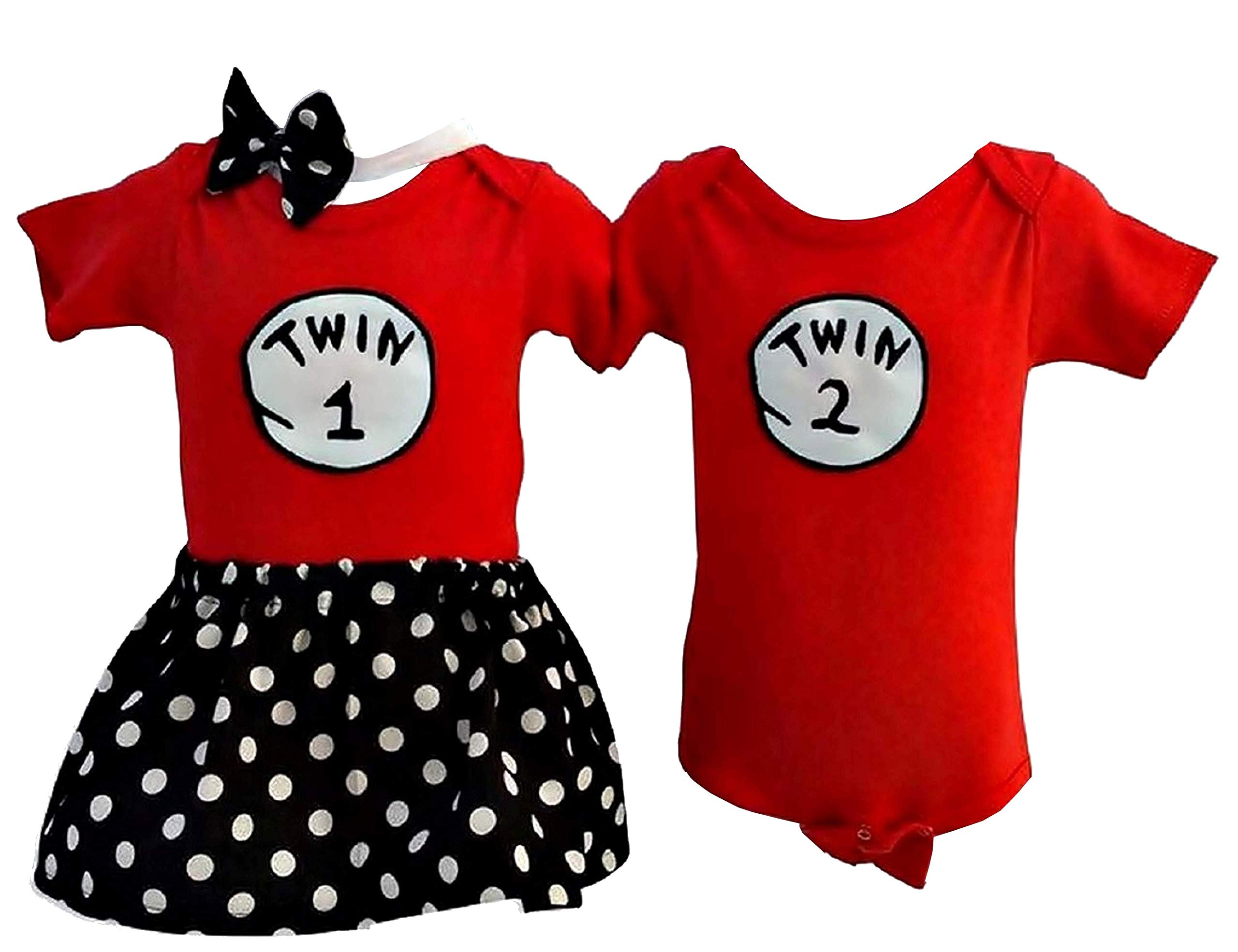 Perfect Pairz Boy Girl Twin Outfits Twin 1 Twin 2 Skirt + Headband (12M) by Perfect Pairz