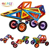 Allnice Magnetic Tiles Building Block Magnet Stacking Toy Set, Magnet Tiles Kits for Kids (Above 3 Year-Old ) - 46 PCS
