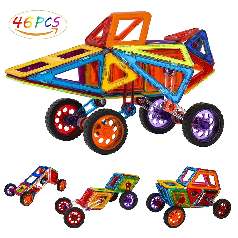 Security Magnetic Tiles Building Block Magnet Stacking Toy Set, Magnet Tiles Kits for Kids (Above 3 Year-Old ) - 46 PCS Review