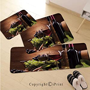 Wine 3D Non-Slip Kitchen Mat Runner Rug Set,3pc Kitchen Rug Set,Glasses of Red and White Wine Served with Grapes French Gourmet Tasting Decorative,for Entryway Kitchen and Bedroom,Brown Ruby Light Gre