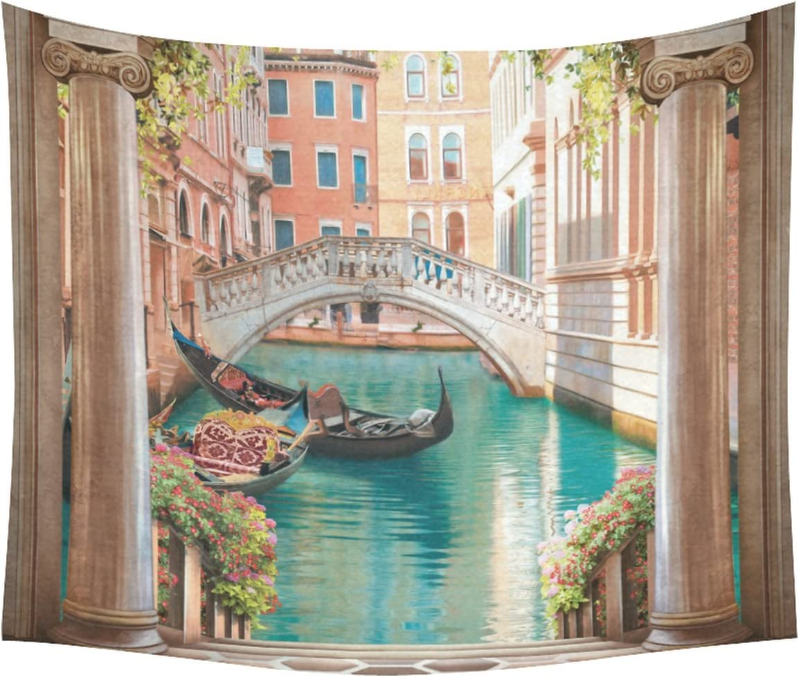 Amazon Com Interestprint Mediterranean Style Building Home Decor Tapestries Wall Art Venice Gondola Flower Tapestry Wall Hanging Art Sets 60 X 51 Inches Home Kitchen