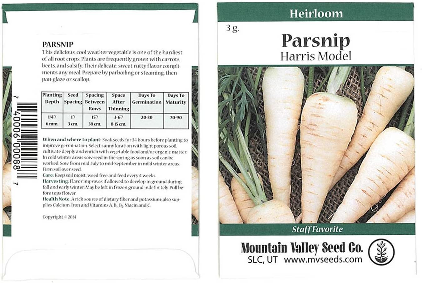 Harris Model Parsnip Garden Seeds - 3 Gram Packet ~500 Seeds - Non-GMO, Heirloom Vegetable Gardening Seeds - AAS Winner