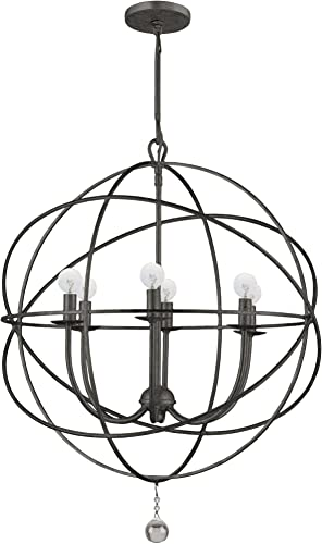 Crystorama 9226-EB Transitional Six Light Chandeliers from Solaris collection in Bronze Darkfinish,