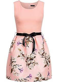 violet Fashion Damen Kleid kurz geblühmt Bindeband Reißverschluss Hinten  rosa 289c5e4000