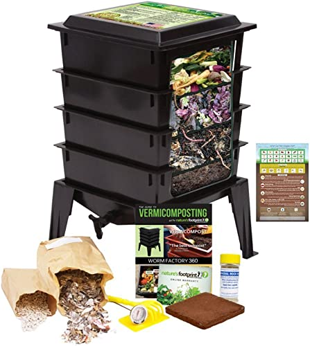 Worm Factory 360 Worm Composting Bin Bonus What Can Red Wigglers Eat Infographic Refrigerator Magnet Black – Vermicomposting Container System – Live Worm Farm Starter Kit for Kids Adults