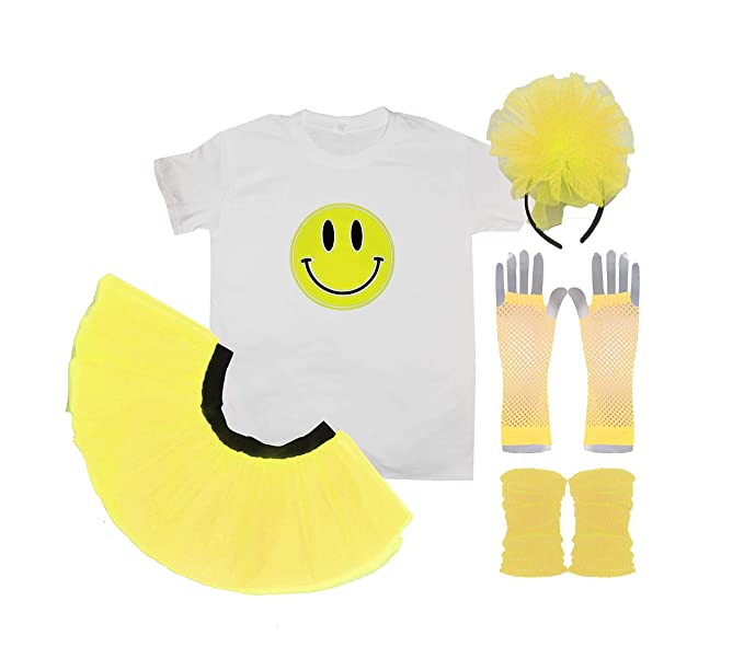 Women's Smiley Happy Face Neon 90s Raver Costume with T-shirt, Skirt, Accessories. XS to 3XL