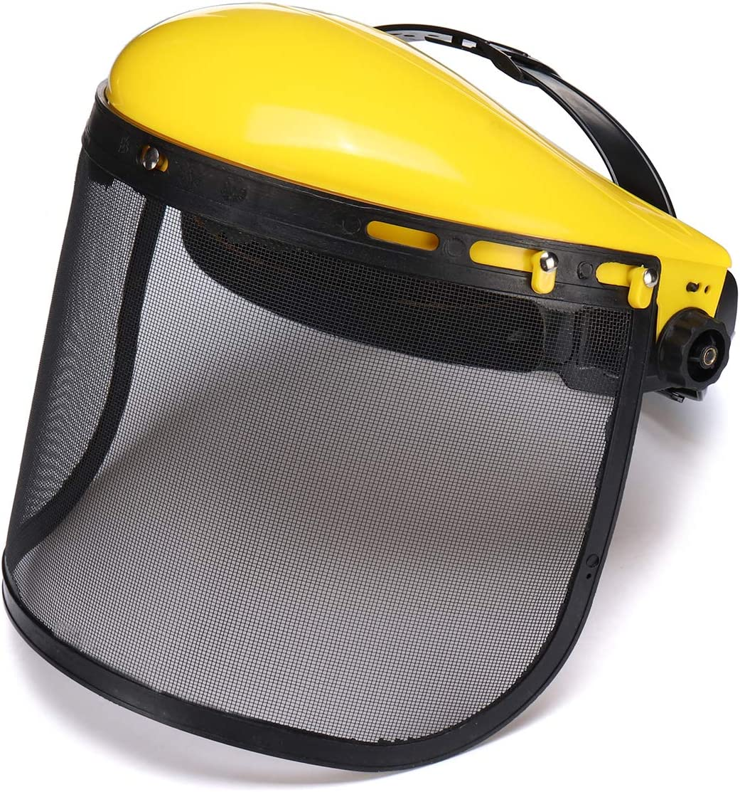 Wooya Casco De Seguridad Amarillo Máscara De La Cara De Motosierra Brushcutte Mesh para Cortacésped Trimmer Cortador De Cepillo