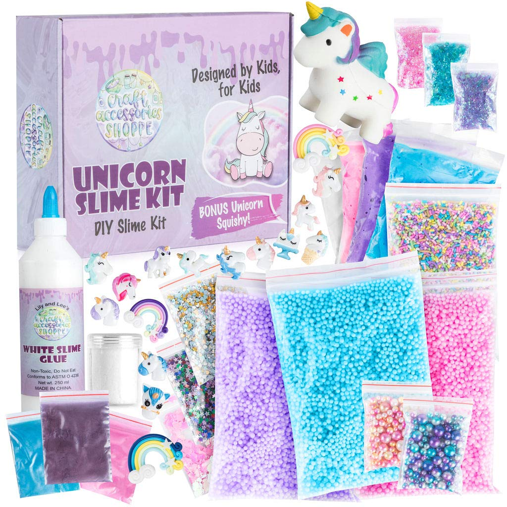 The Original Unicorn Slime Kit for Girls - Ultimate DIY Unicorn Slime Making Kit and Add Ins to Make Rainbow Unicorn Slime, Crystal Unicorn Slime, and Unicorn Poop Slime - Fun Unicorn Things for Girls