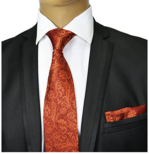 4c739bc627607 Amazon.com: Bronze Paisley Silk Tie and Pocket Square Paul Malone Red Line:  Clothing