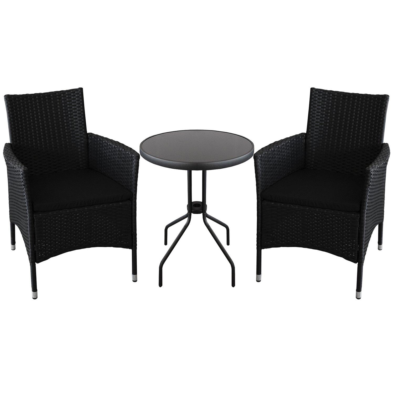 3er bistrogarnitur bistrotisch rund 60cm mit schwarzer undurchsichtiger tischglasplatte 2x. Black Bedroom Furniture Sets. Home Design Ideas
