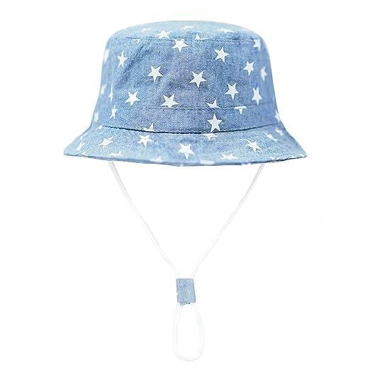 a654bcb239412 Amazon.com  Baby Sun Hat Boys Girls Toddler Summer Sun Protective Chin  Strap Floppy Hat Kids Bucket  Clothing