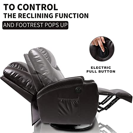 Massage Recliner Chair, Fitnessclub, Electric Leather Recliner Sofa with Heat, Zero Gravity, 360 Degree Swivel, Lazy Boy Recliner for Office, Study, Home Theater, Media Room, Brown
