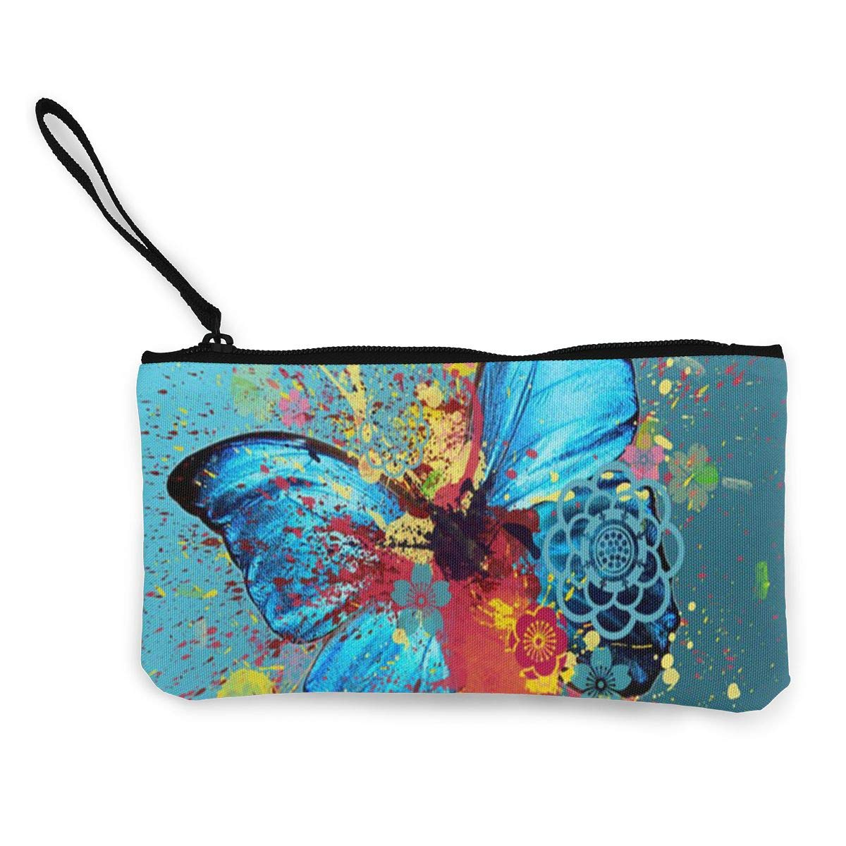 Cellphone Bag With Handle Make Up Bag DH14hjsdDEE Beautiful Butterfly Watercolor Zipper Canvas Coin Purse Wallet