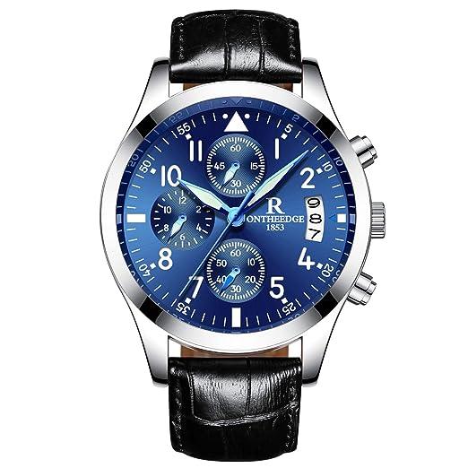 RORIOS Hombres Relojes de Pulsera Cuarzo Analógico Business Cronógrafo Timer Luz Cuero Band Impermeable: Amazon.es: Relojes