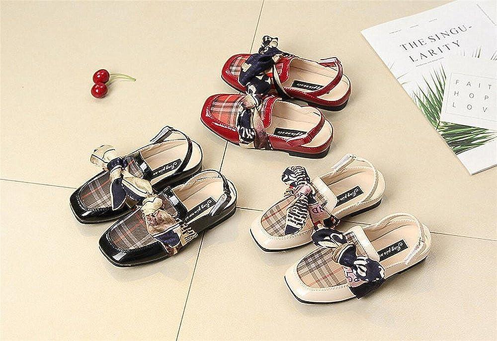 Girls Lattice Bow Flats Dress Shoes Mary Jane Round Toe Kids