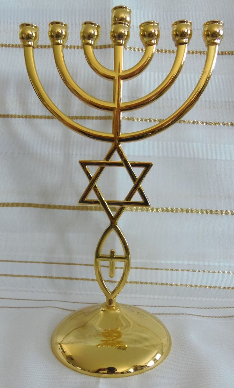 Jewish Messianic Temple Menorah 8.5 inches Tall by Bethlehem Gifts TM (Gold)