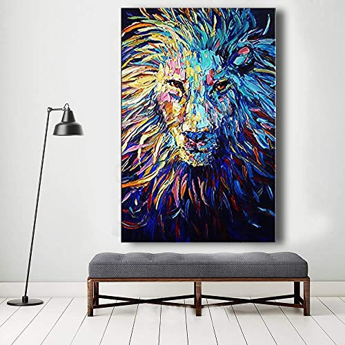 Orlco Art Hand-Painted Navy Dark Blue Lion Oil Painting Abstract Wall Art Animal Paintings On Canvas for Living Room Office Palette Knife Heavy Textured A, 24x36inch with The Stretched