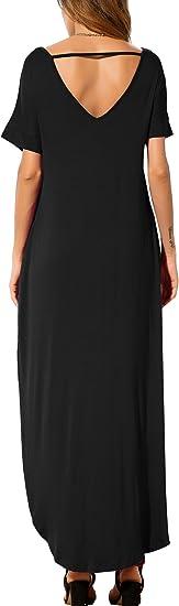 Women's Casual Loose Pocket Short Sleeve Dress