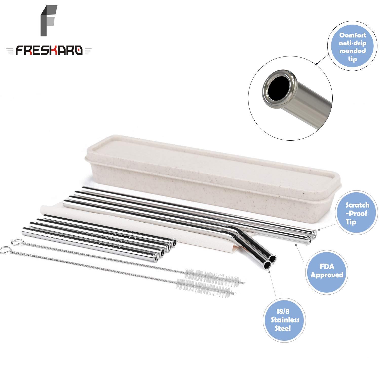 Scratch-Proof Set of 8pcs Customer-Made Brand for Wholesale FDA Approved 6mm, 26.6cm-4pcs, 21.6cm-4pcs FresKaro Reusable Straws-Stainless Steel Straws Dishwasher Safe