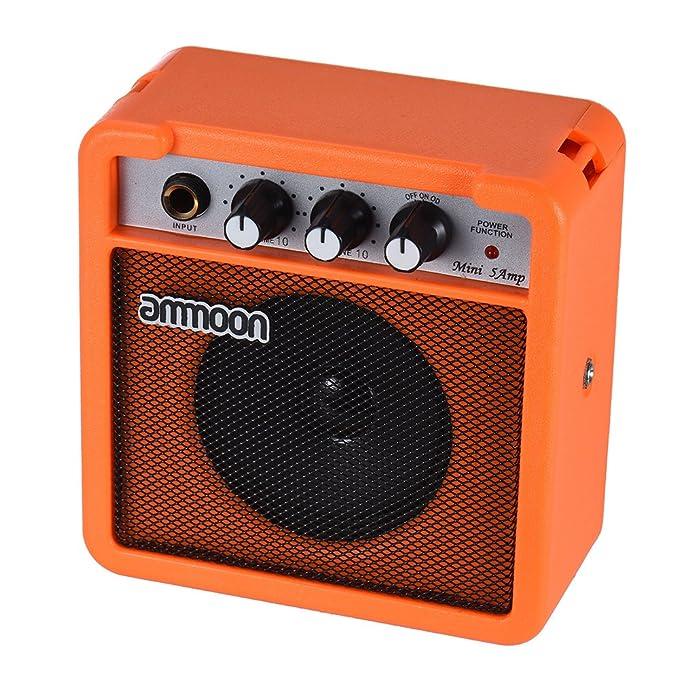 ammoon Mini Amplificador de 5 Vatios Amplificador para Guitarra Acústica/Ukelele Alta Sensibilidad con Control de Tono de Volumen