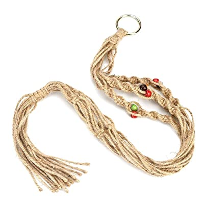 2 Pack Plant Hanger Macrame Jute 4 Legs 35.5 Inches Plant Hanger Rope for Indoor Outdoor Ceiling Deck Balcony Round and Square Pots,Small: Beauty