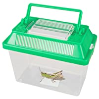 Small Animal Keeper Clear Plastic Box Tank With Ventilated Opening Lid Carry Handle Insects Spiders Reptiles Live Food Green