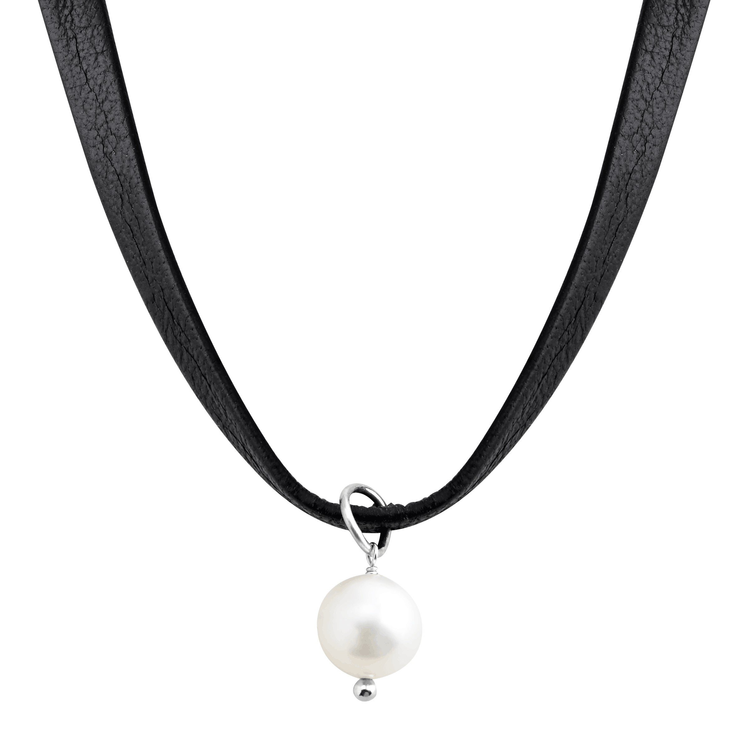 Silpada 'High Tide' Leather Choker Necklace with 8-8.5 mm Freshwater Cultured Pearl in Sterling Silver