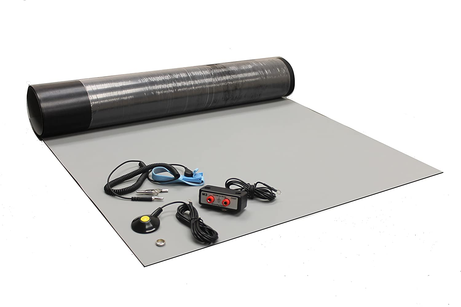 with Ground Cable-Gray 0.08 Thick Rubber ESD Anti-Static HIGH Temperature Soldering MAT-24 X 48 2x 4