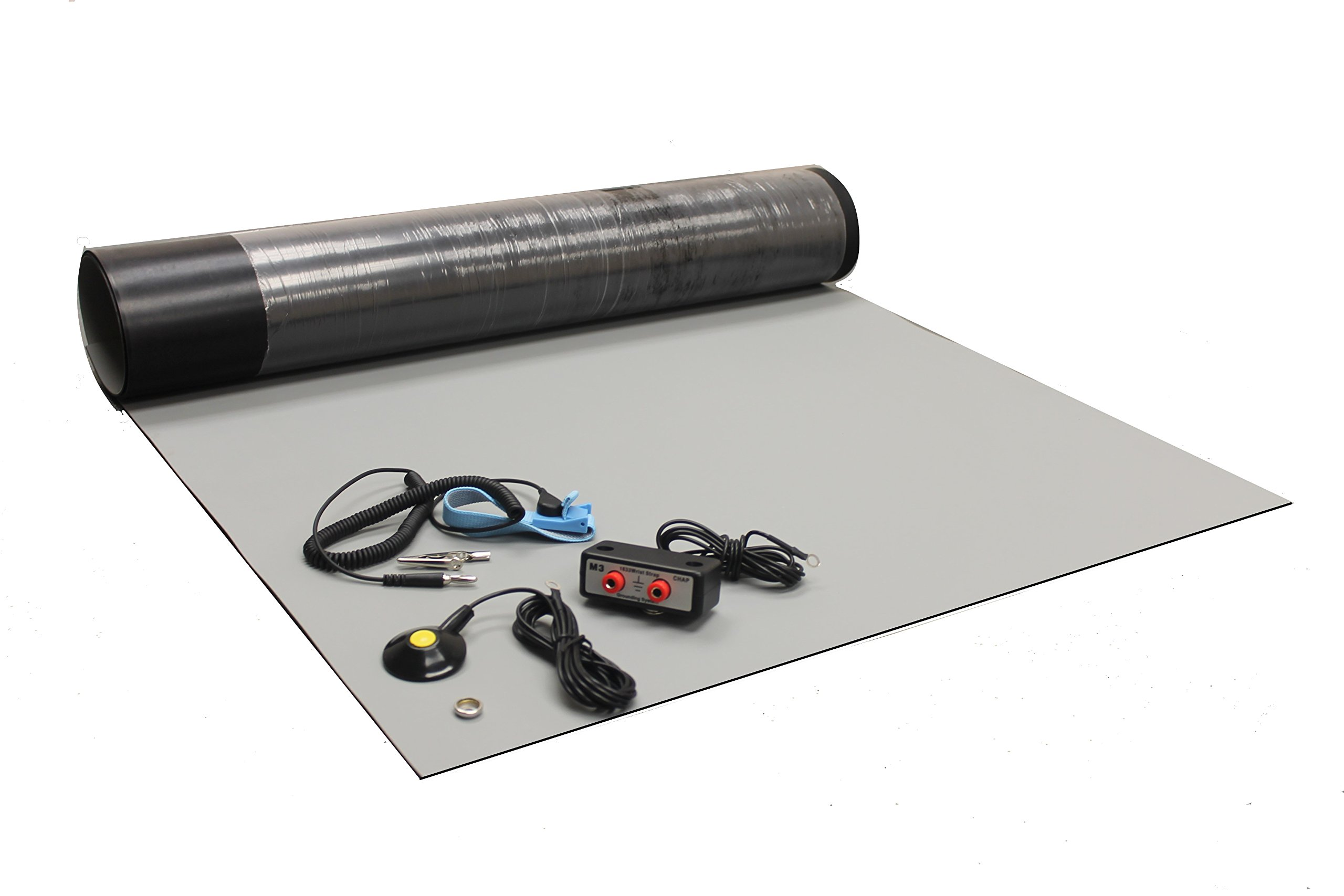 Rubber ESD Anti-Static HIGH Temperature Soldering MAT KIT-30'' X 72'' (2.5'x 6') - 0.08'' Thick- with Dual Bench and Wrist Strap-Gray