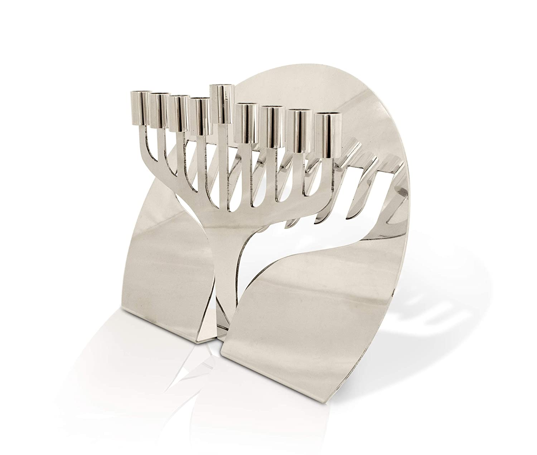 Unique Aluminum Hanukkah Menorah with bend design & Shiny finish Modern Judaica gift