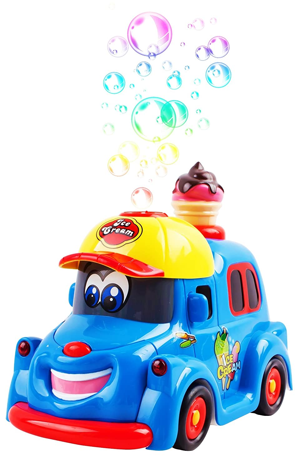 Bubble Ice Cream Truck Toy Battery Operated Toy Ice Cream Truck Car w/ Lights & Sound Music