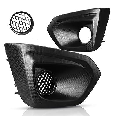 Fog Light Cover Front Bumper Compatible with 2012 2013 2014 Subaru Impreza, Pair Matte Black Foglight Covers W/Insert Grille Replacement, Right & Left Fog Lamp Bezel: Automotive