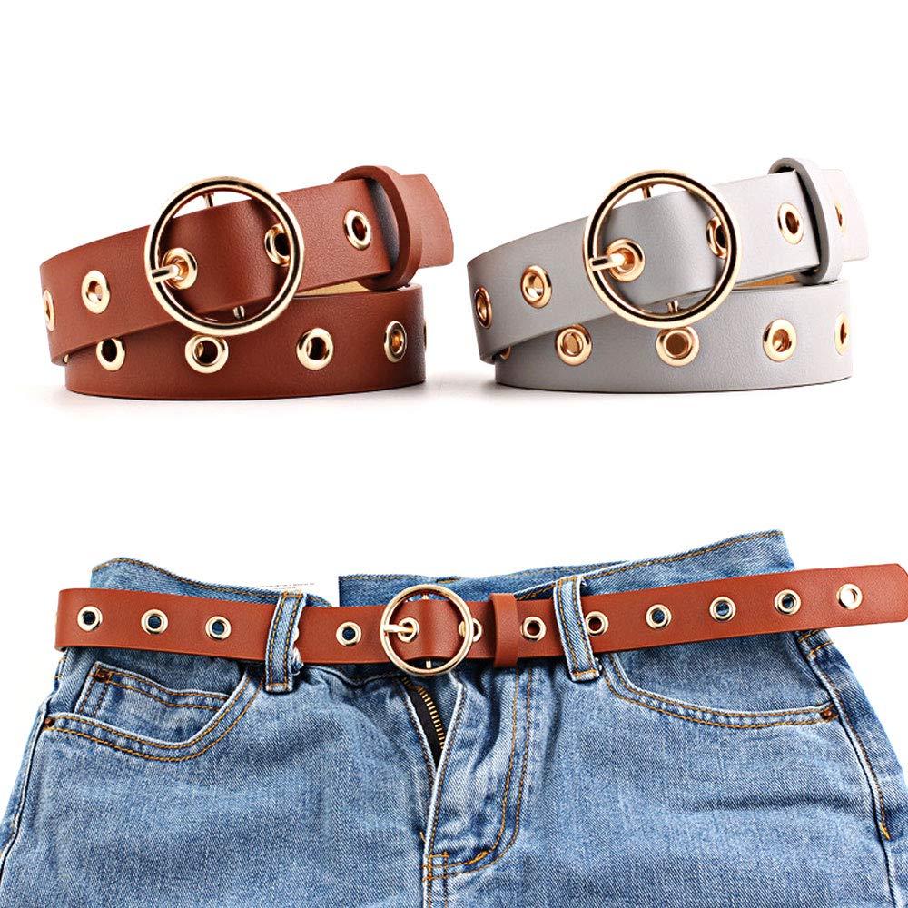 Tcare I jeans casual con foro in pelle PU alla moda da donna vestono una cintura a vita lunga