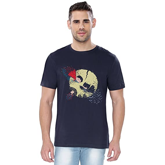 b6e2f2103f7c The Souled Store Superhero Trio Superhero Printed Premium Navy Blue Cotton T -Shirt for Men