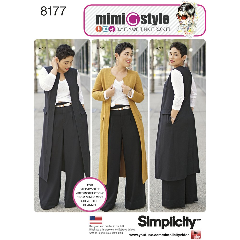 Simplicity Patterns 8177 Mimi G Style Pants, Coat Vest Knit Top Miss Plus Size BB (20W-28W)