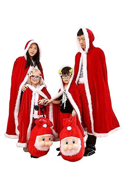 56aa27de9 tianxinxishop Navidad Capa de Terciopelo Dorado con Capucha para Ninos  Adultos Disfraz de Santa Claus con Bolsa de Navidad 3D + Funda de pie, ...