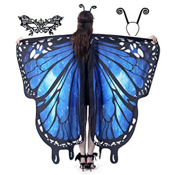 Butterfly Wings Cape with 2pcs Lace Mask Butterfly Shawl Halloween Costumes for Women /& Girl Enjoy Your Party Festival Family Fun 2pack-Orange Purple