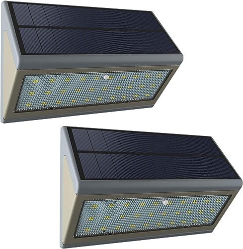 Solar Lights Outdoor, Wireless Motion Sensor Lights, IP65 Waterproof Wall Lights Security Lighting for Outdoor Garden, Patio, Yard, Deck, Garage, Driveway, Fence and so on 5W, 2Packs