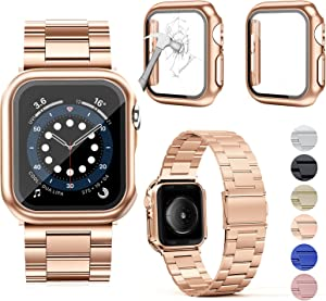 OMEE Compatible with Apple Watch Band 40mm with 2Pcs Case, Stainless Steel Metal Band Business Replacement iWatch Strap for Apple Watch Series 6/5/4/SE (40mm, Rose Gold)