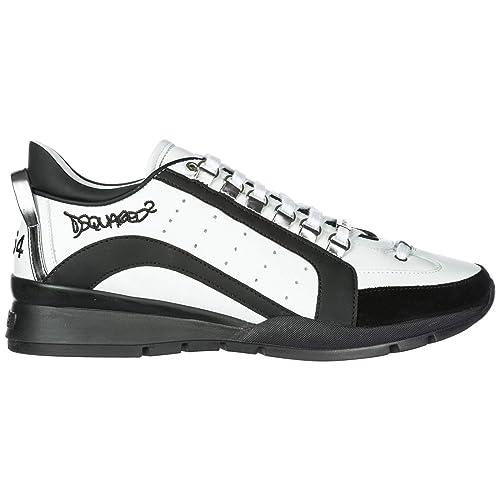 Dsquared2 Zapatos Zapatillas de Deporte Hombres en Piel Nuevo 551 Blanco: Amazon.es: Zapatos y complementos