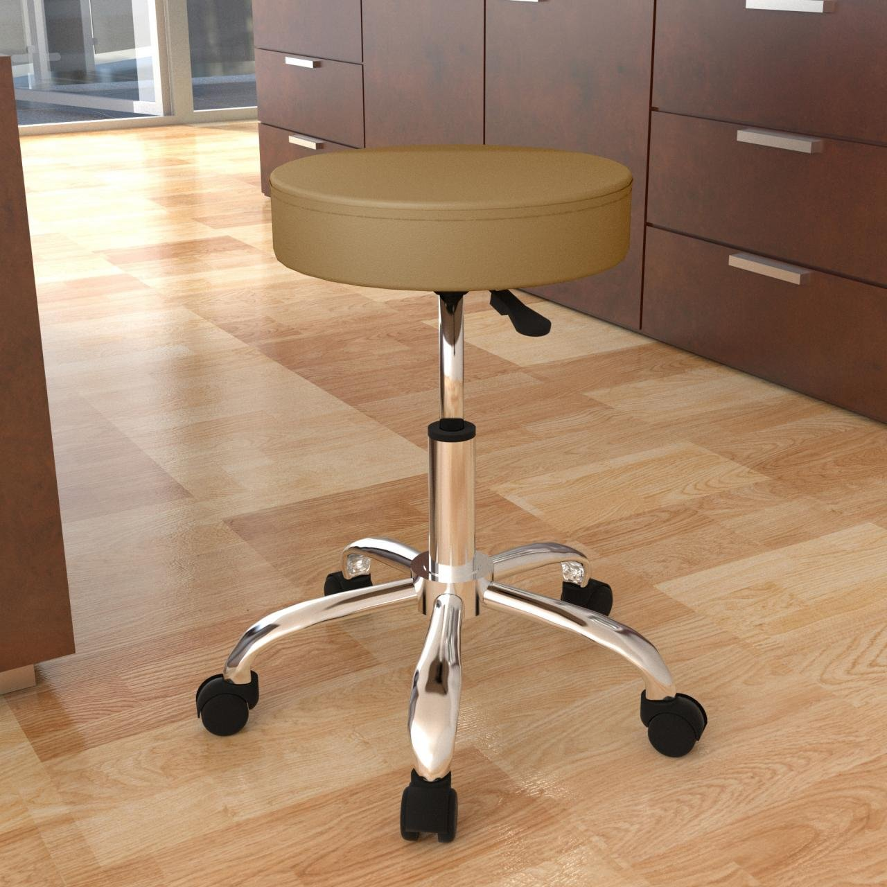 Sanzaro Drehhocker Arbeitshocker Rollhocker Hocker Arbeitsstuhl Drehstuhl Praxishocker mit Rollen h/öhenverstellbar Cappuccino
