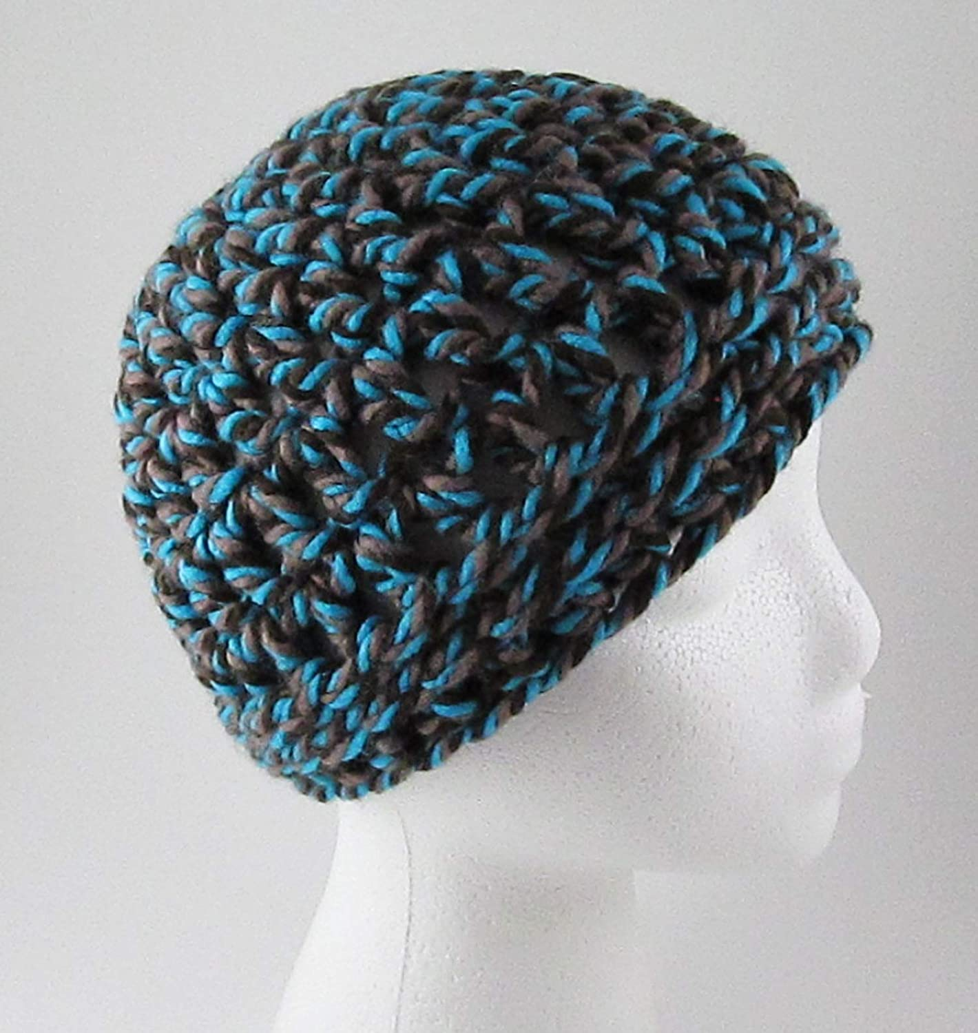 Amazoncom Chunky Crochet Messy Bun Hat Turquoise Brown Ponytail