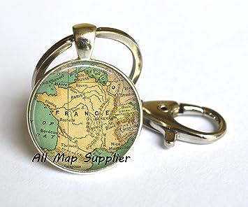 Encantador Llavero, Francia Mapa llavero, Francia Mapa ...