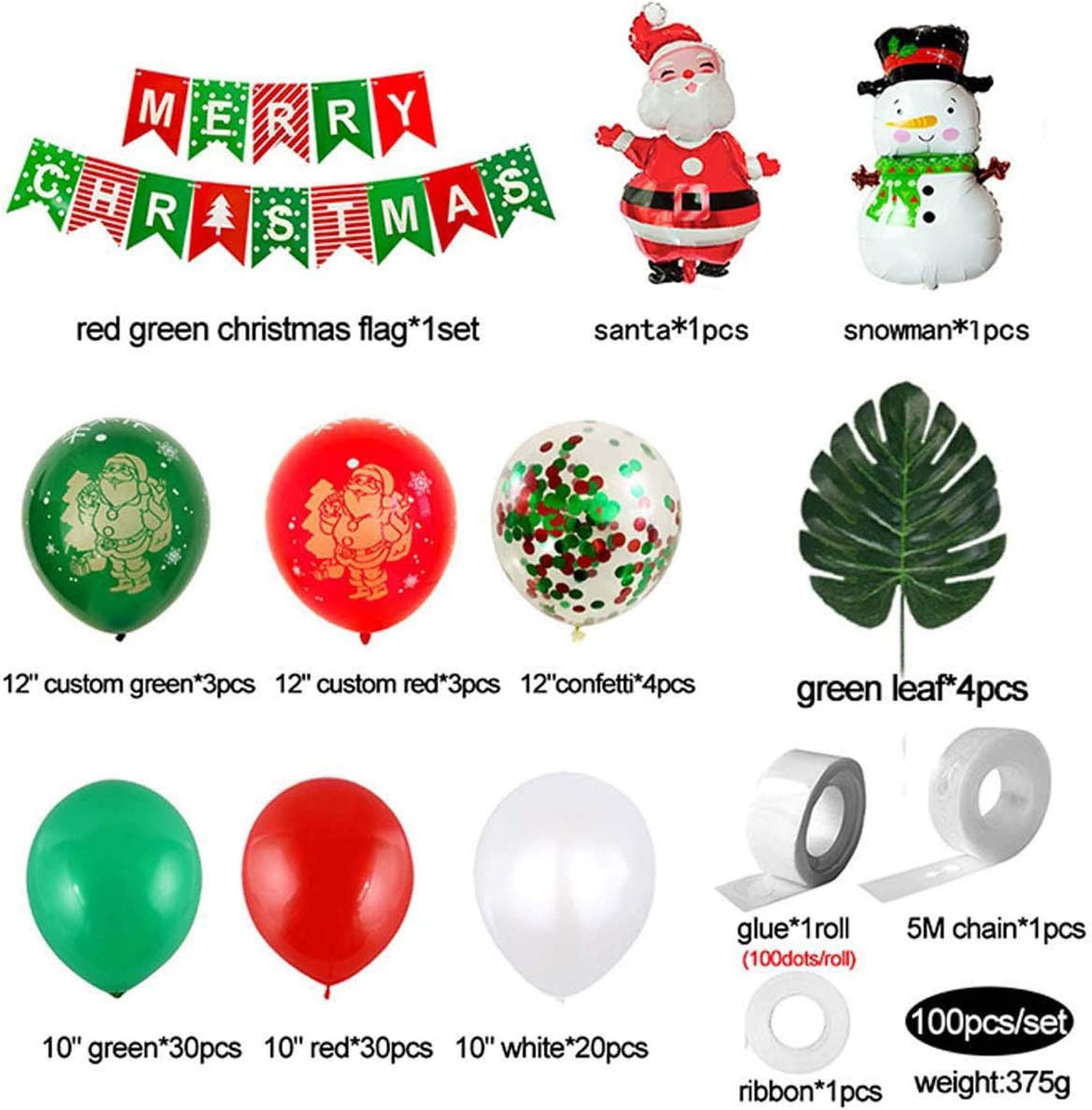 Details about  /Merry Christmas Balloons Foil Helium Ballons Air Fill Latex Xmas Bunting banner