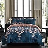 Bohemian Duvet Cover Set Luxury European Bedding Blue/Brown Floral Pattern Reversible,King Size-3 Pieces(1 Duvet Cover + 2 Pillowcases)-120 gsm Soft 1800TC Microfiber Boho Bedding Set by Moreover