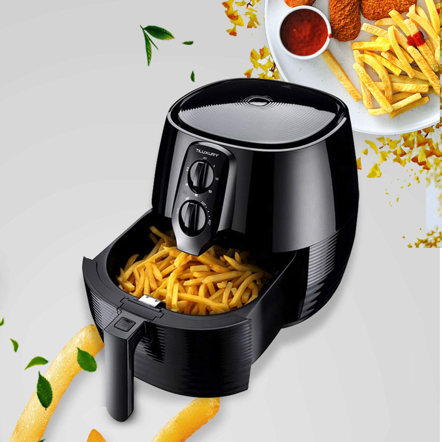 XL 5.8QT Oil Free Air Fryer, Temperature Control,For Healthy Fried Food, with 6-PC Accessory Set + 50 Recipes