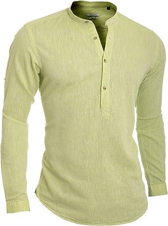 Hombre Camisa Henley Casual Collar de pie Algodón Lino Slim Fit Manga Larga: Amazon.es: Ropa y accesorios