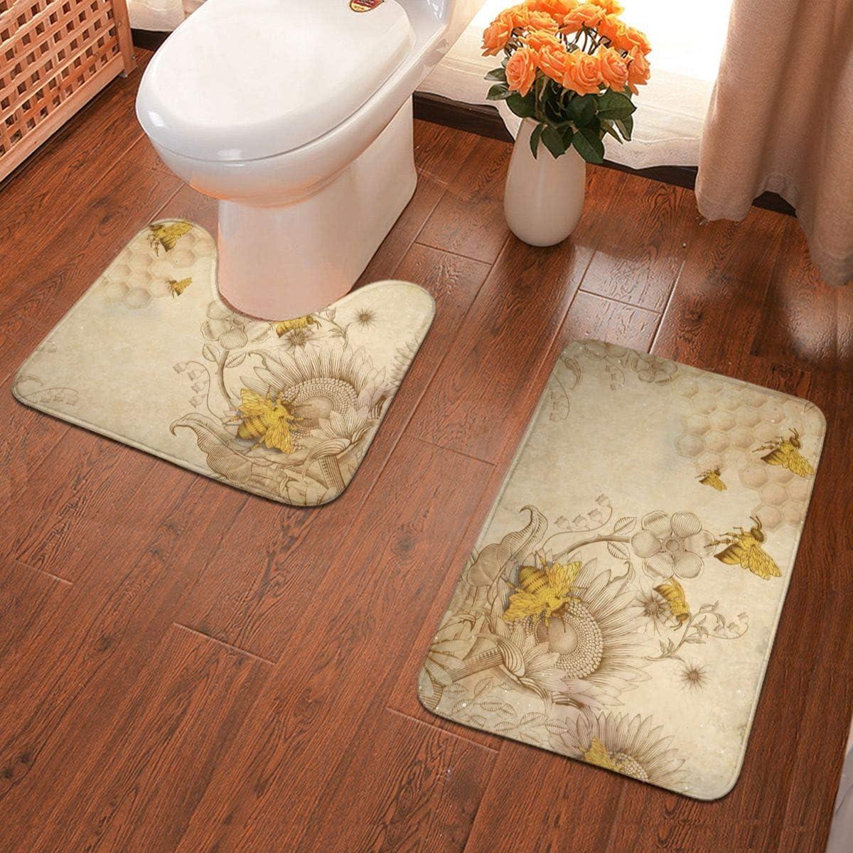 Not Applicable Juego de 2 Alfombrillas Antideslizantes para baño con diseño de pájaros y Flores, Abejas de Miel Retro y Flores Silvestres, Talla única