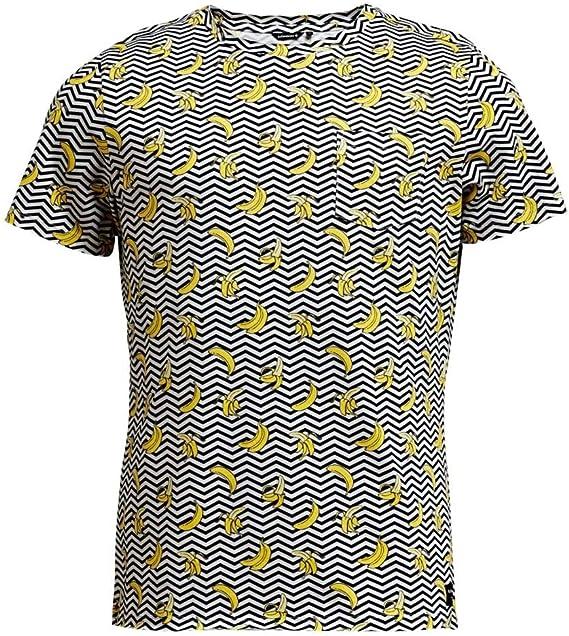 Bjorn Borg Algodón Orgánico Banana Raya Impresión Camiseta De Los Hombres, Negro: Amazon.es: Ropa y accesorios