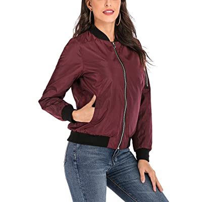 ThusFar Women's Reversible Bomber Jacket Quilted Coat Zip Up Lightweight Outerwear at Women's Coats Shop